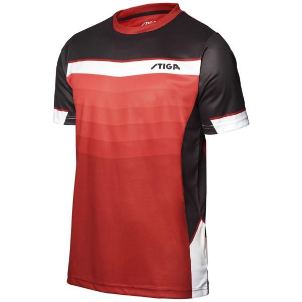 Stiga Shirt RIVER - dunkelrot-schwarz-weiß